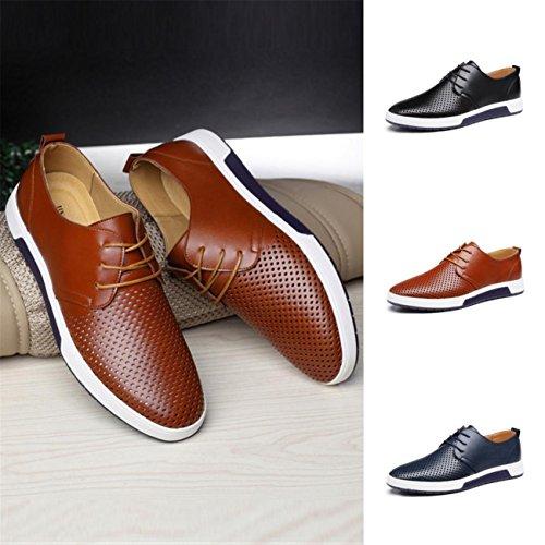 Chaussures Hommes Été Entreprises Style Hommes Le Cuir des Chaussures Solides Et Loisirs Hollow (47, Marine)