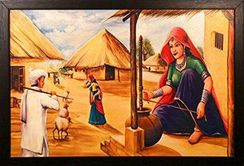 PAF Rajasthani Village Framed Painting Wood 35 Cm X 2 50