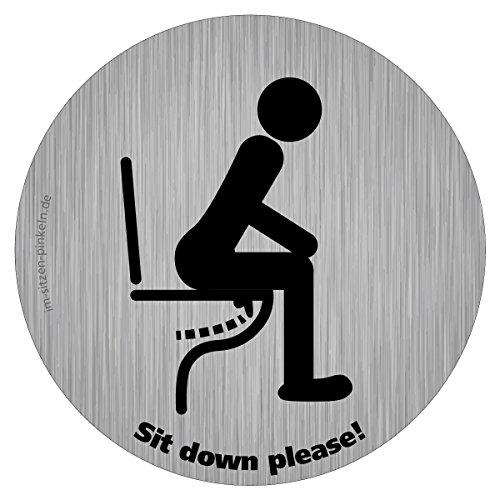 Toilette-Hinweis - Im Sitzen pinkeln Aufkleber, 5 cm Ø, Sit down to pee, für Hoteltoilette, Kundentoilette, Gäste-WC