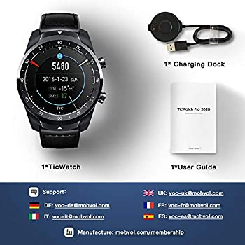 Ticwatch Pro 2020 Smartwatch 1GB RAM, Layered Display for Long Battery Life, Wear OS by Google, NFC, 24H Heart Rate, GPS, Sleep Tracking, Music, IP68 Water Resistance, Compatible with Android & iOS