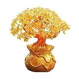 7'Feng Shui hecho a mano citrino Fengshui Árbol de cristal amarillo de árbol de dinero en una bolsa de dinero + libre hecho a mano ajustable suerte rojo pulsera
