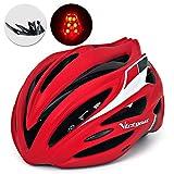 Victgoal Bike Helmet with Visor LED Taillight Insect Net Padded Road Mountain Bike