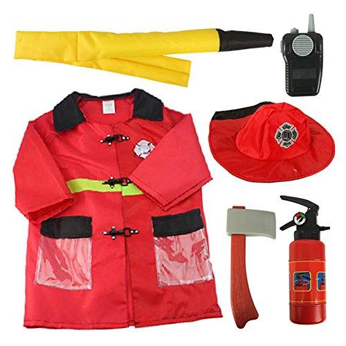 ostüm Set Geneigter So tun, als Halloween Kostüm und Zugbegrenzer,3-7 Jahre - Feuerwehrmann, One Size (Kinder Halloween Brauch)
