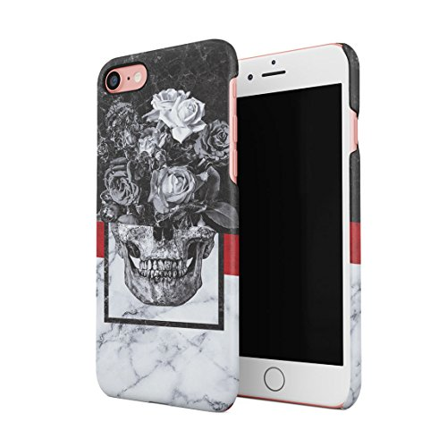 Schwarz & Weiß Realistic Human Skull Card Dünne Rückschale aus Hartplastik für iPhone 7 & iPhone 8 Handy Hülle Schutzhülle Slim Fit Case cover Floral Roses Skull