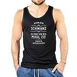 Herren Sprüche Trägershirt - Sexsprüche : Wenn dein Schwanz so groß ... -- Sprüche Ü18 Shirt Farbe: schwarz Gr: S