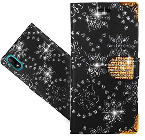 Wiko Y60 Handy Tasche, CaseExpert® Wallet Case Cover Flower Bling Diamond Hüllen Etui Hülle Ledertasche Lederhülle Schutzhülle Für Wiko Y60 -
