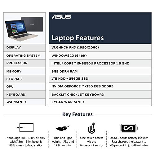 ASUS VivoBook S15 S510UN Intel Core i5 8th Gen 15.6-inch FHD Thin & Light Laptop (8GB RAM/1TB HDD + 256GB SSD/Windows 10/2GB NVIDIA GeForce MX150 Graphics/Gold/1.70 Kg), S510UN-BQ256T