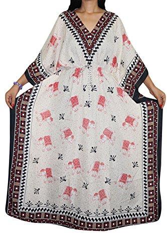 9a8d7e4afc Indiatrendzs Womens Caftan Dress Printed White Kaftan Nighty Dory at Waist  Free Size