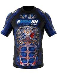Rashguard SMMASH FIGHT MACHINE ELECTRIC Manche Courte MMA BJJ UFC S M L XL XXL XXXL
