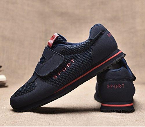 Chaussure sportif chukka sneakers pour vieux homme femme respirant plat basket bleu foncé