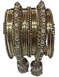 JD Bangle StoreTraditional Fancy Designer Casual Party Wedding Wear Original Hand Work Stone Antique Golden Bangle...