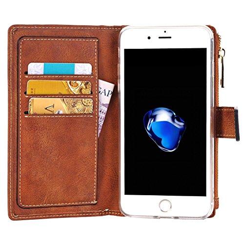 Retro Style verrückte Pferd Textur Horizontale Flip Leder Tasche mit abtrennbarer Rückseite Cover & Zip Fastener & Card Slot & Wallet & Magnetic Buckle für iPhone 7 Plus by diebelleu ( Color : Black ) Brown