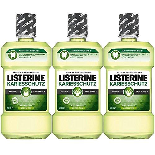 Listerine Kariesschutz Antibakterielle Mundspülung (gegen Karies mit milderem Geschmack) 3er Pack (3 x 500ml) (Listerine Atem Spray)