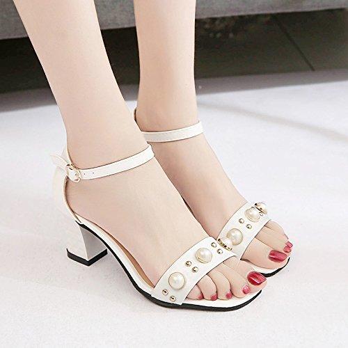 Lgk & fa estate sandali da donna estate parola fibbia dolce scarpe con tacco grosso tacco casual Fashion sandali scarpe Pearl, 36 black 37 white