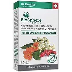 Dr.Dünner Biosphere Swiss 60 Kapseln für Erhaltung der Immunkraft | Kapuzinerkresse, Hagebutte, Holunder & Vitamin C | Nahrungsergänzung + ohne Gentechnik + vegan + glutenfrei + laktosefrei