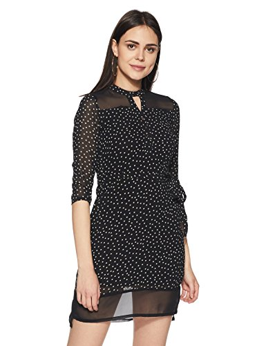 Park Avenue Woman A-Line Knee-Long Dress (PWEA00303-K8_Black_Large)