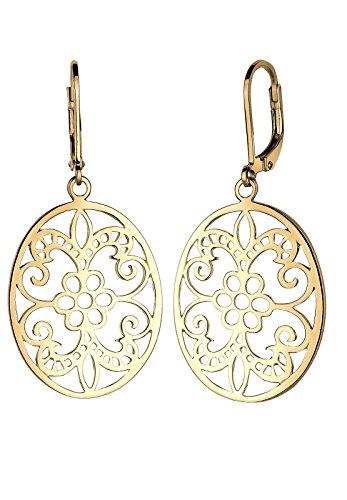 Elli Damen Schmuck Ohrringe Ohrhänger Orientalisch Floral Romantisch Cut Out Silber 925 Vergoldet