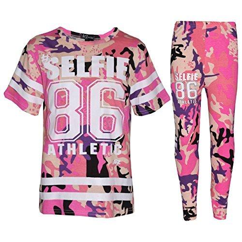 Pink Camo T-shirt (A2Z 4 Kinder Mädchen Top Kinder Designer's #Selfie 86 Athletic T-Shirt Top & Legging Satz - Camo Baby Pink - 7-8 Jahre)