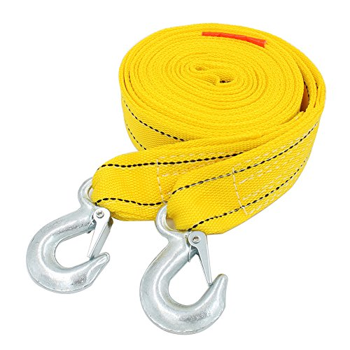 EEFUN Auto Abschleppseil Straps mit Hooks, 5000KG Kapazität,4M lang und 5cm breit. Heavy Duty Vehicle Towing Winch Snatch Strap, Tree Saver Auto Notfall Off Road Seil mit verstärkten Loops