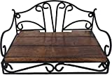 Woodenclave Wrought Iron & Wood Set Top Box Wall Stand of Metal | Brown