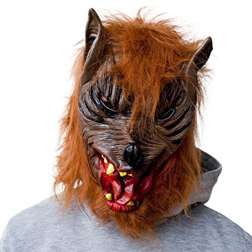 Werwolf Horror Maske Halloweenmaske Wolf Vollmaske Karneval Werwolfmaske