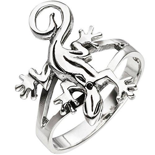 JOBO Damen Ring Gecko Echse Eidechse 925 Sterling Silber Silberring Größe 58