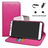 LFDZ Alcatel 3v Hülle, [Standfunktion] [Kartenfächern] PU-Leder Schutzhülle Brieftasche Handyhülle für Alcatel 3v Smartphone (mit 4in1 Geschenk Verpackt),Pink