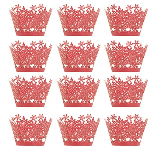 Newin Star 12 pcs Christmas Cupcake Wrappers for Elegant Weddings & Celebrations, Graduations, Anniversary, Birthday & Gatsby Parties, Bridal Showers, Adjustable Cup Cake Red