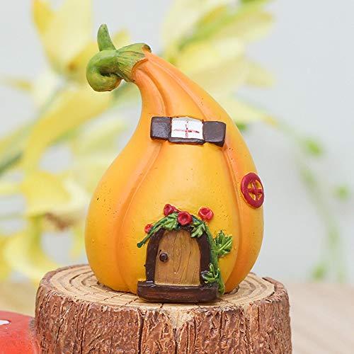 (Miniatur-Figuren DIY Basteln Garten Dekoration Mikro-Landschaft Mini Haus Harz Fee, kürbis, Free Size)
