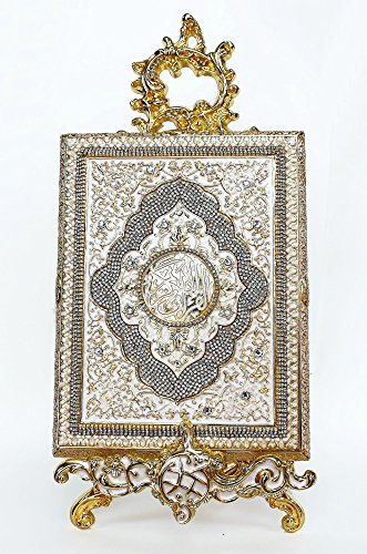 Premium Weiß und Gold Koran Karton mit Ständer
