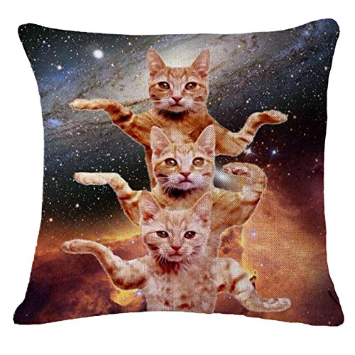 Teebxtile Kissen-Abdeckungen Kissen-Dekokissen Abdeckungen für Couch-Sofabett Vintages das kreative Kunst-Quadratkissen 猫 Stempelmuster-Kissenrückseitenkissen, zum des Kissensatzes des Kissens, 7, Segeltuch 45 * 45 keine Zelle besonders anzufertigen -