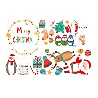 UANGER Christmas Window Stickers Removalble Wall Decals DIY Home Decor Glass Door Decal Showcase Stickers Decoration for Christmas New Year Santa Claus (A)