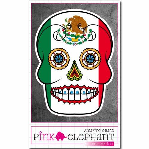 er / Autoaufkleber - Mexiko - Totenkopf Sugar Skull - 9 x 12 cm - Fahne flag (Sugar Skull-fahne)