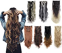 DODOING 8PCS 24 Long Wavy Curly Full Head Clip in Hair Extensions 18Clips Women Lady Hairpiece Natural Black