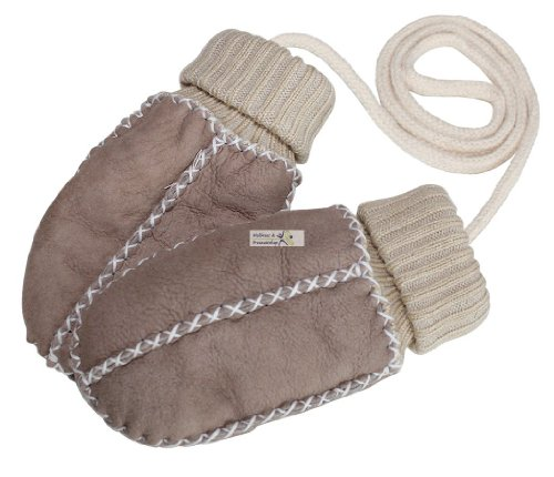 Baby-Lammfell-Handschuhe / - Fäustel mit Strickbündchen, sand-beige