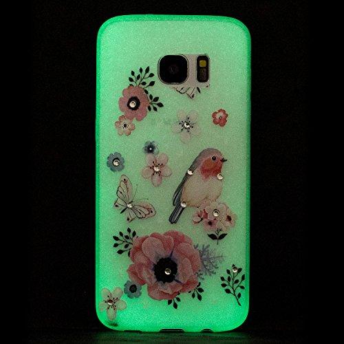 Coque Samsung S7 Edge , Coque Galaxy S7 Edge , Anfire Lumière Noctilucent Etui Souple Flexible en Premium TPU Samsung Galaxy S7 Edge SM - G935F (5.5 pouces) Ultra Mince Gel Silicone Transparent Clair  Une rose