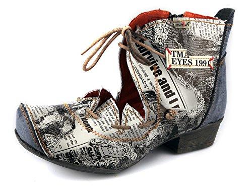 7be33b65b55f44 TMA Damen Stiefeletten Boots Stiefel Leder Damenschuhe 8778 Schwarz   Grau