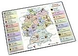 Läufer 45346 Landkarten-Schreibtischunterlage Entdecke Deutschland, rutschfeste Schreibtischunterlage mit Landkarte Entdecke Deutschland für Kinder, 40x53 cm