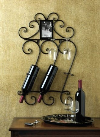Koehler Home Indoor Celebration Decorative Wine Bottle Hanging Wall Mounted Pretty Scrollwork Rack by SmileMore