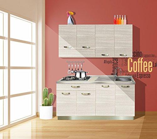 Cucina economica reversibile completa di elettrodomestici colore rovere bianco