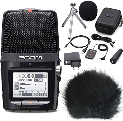 Zoom H2n Handy Recorder H2 Next + APH-2 Zubehör Set + keepdrum WSBK Fell-Windschutz