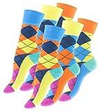 6 Paar knallig bunte Damen Karo Socken