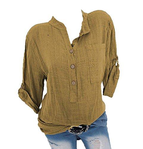 Keephen Frauen Sommer Tasten Shirts Roll up Ärmel Lose Pocket Bluse V-Ausschnitt Tops T-Shirt