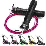 #DoYourFitness Springseil ideal für Cardio-, Box- & Fitnesstraining - hochwertiges Speed BZW. Jump Rope mit Stahlkugellager, verstellbaren Stahlseil (3m) & rutschfesten Handgriffen - »JumpUp« pink