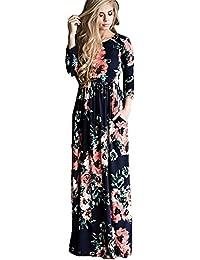 NEPW Femme Sexy Robe Manches longues Longue Plissée Ete Boheme Chic Maxi  robe de Plage Soirée 75dd9bd3cad