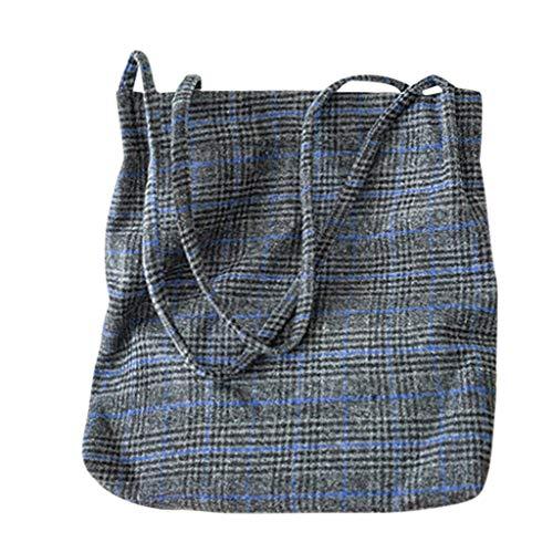 Women's Handtasche Schultertasche Shopper Taschen Umhängetasche, Mode Large Capacity Student Schulrucksack Retro Handbag Wild Wool Plaid Shoulder Bag Diagonal Package - Wild Plaid
