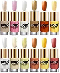 Volo Luxury Super Shine Nail Polish Set of 12 Vibrant Shades (Chrome Rust, Metallic Pink, Pearly White Chrome, Golden, Red Gold, Golden, Metallic Silver, Light Golden, Chrome Olive Green, Bronze Magnetic, Gold Chrome, Hot Lava)