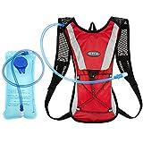 Mochila de Hidratacion 2L Mochila Mochila de Ciclismo hidratación vejiga Agua de 2 litros Ciclismo Escalada Camping Bolsas de Running - Rojo