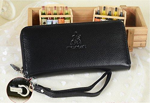 Ms. portafoglio lungo tratto femminile della pochette semplice borsa della frizione di modo della borsa cerniera ( colore : Rosso ) Nero