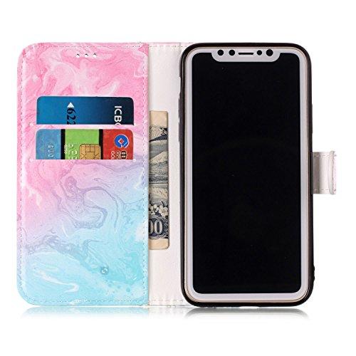 inShang Hülle für iPhone X 5.8 inch mit integriertem Brieftaschen-Design, iPhoneX 5.8inch cover case mit Standfunktion. + inShang Logo hochwertigen Stylus Eingabestift Stift Pink green marble